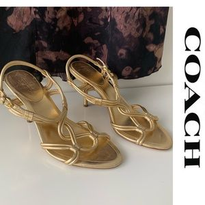 COACH Sandals Heels Gold Grecian Shoes Size 8